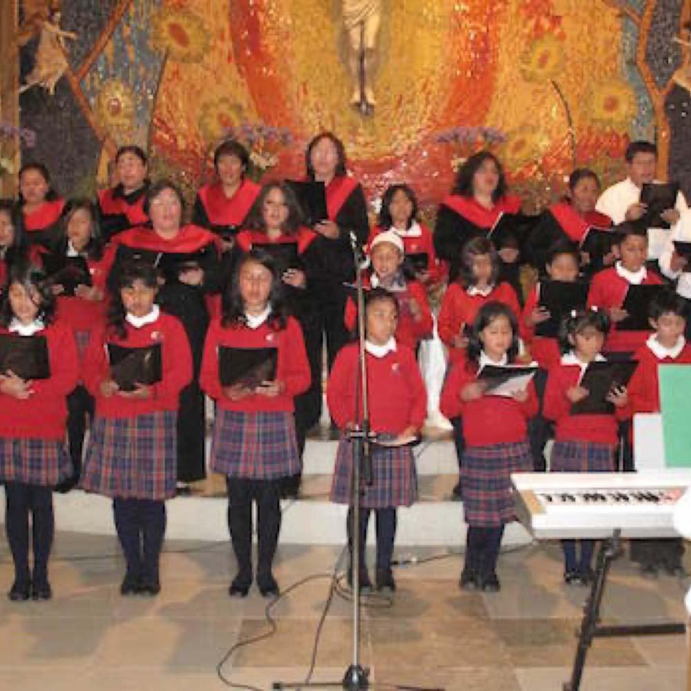 A choir of children singing